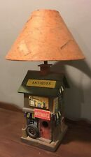 """Accent Lamp """"Antique Store"""" Wooden Base with Handmade Paper Shade"""