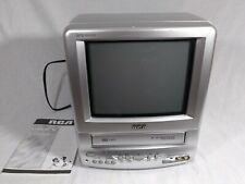 """RCA Television VHS Combo T09085 Gray Silver 9"""" Retro Gaming TV No Remote Tested"""