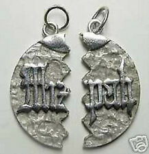 LOOK Jewish Genuine Sterling Silver .925 split Mizpah Love Pendant Charm Jewelry