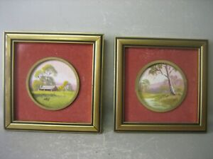 Pair vintage framed landscape oil paintings signed by M. H.