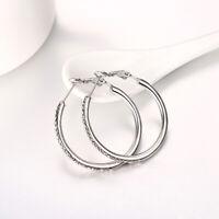 Boho 925 Silver Cubic Zirconia Wedding Engagement Hoop Earrings Party Jewelry