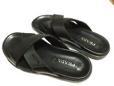Men's Black Prada Spazzolato Ribbon Nylon Sandal, Sz 8