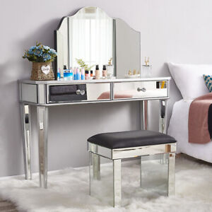 Bedroom Mirrored Glass Dressing Table Cushioned Stool Make Up Mirror Vanity Set