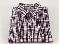 Mens Peter Millar Medium Purple Dark Blue Black Beige OffWhite Check Plaid Shirt