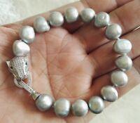 Perle Armband, Barock Perle Armband,10-11 mm Grau Süßwasser Perle Armband
