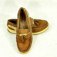 Sperry Top Sider womens tan leather deck shoes tossell side mesh SZ 6 1/2 M