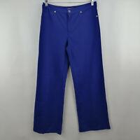 Isaac Mizrahi Live! Ponte Knit Full Leg Pants Royal Navy 12  A263890