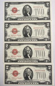 4 1928-G  $2 United States Red Seal Note **SEQUENTIAL** Serial Numbers UNC!