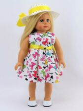 Doll Clothes Sleeveless Bows Dress & Hat  For 18 Inch American Girl 2 PC Outfit