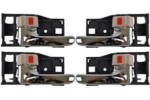 Inner Inside Door Handle Brown Knob Chrome Lever Front Rear Left Right Set of 4