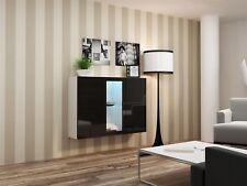 Buffet hängesideboard de Lugo » 120x38x90 cm blanc / Noir HGL avec LED