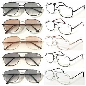 Reading Glasses Sunglasses Double Bridge Pilot Metal Spring Hinges Flexible Arms