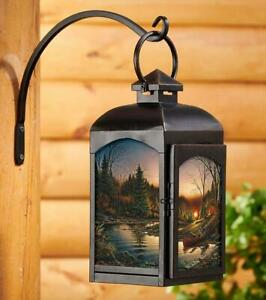Morning Solitude Candle Lantern (Black) by Terry Redlin