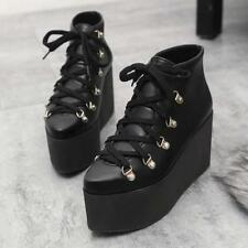 Womens punk gothic Lace Up Pointed Toe Wedge Heels Motorcycle ankle Boots