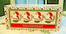 Qty.4.World Bazaars,Holiday Collection.Hand painted Porcelain Santa Napkin Rings