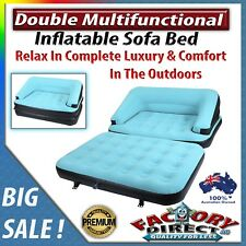 Double Multi Functional Sofa Bed Baby Blue Couch Camping Outdoors 200kg Load