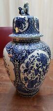 Delft Blue White Dutch Ginger Jar Urn with Foo Dog Lid Boch Royal Sphinx Holland