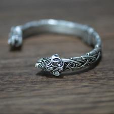 Viking Wolf Bracelet Bangle Norse Celtic Knot Triquetra Antiq Silver Adjustable