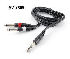 """5ft 1/4"""" TRS Stereo Plug to Dual 1/4"""" TS Mono Plug Audio Cable, AV-YS05"""