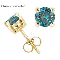 14k yellow gold round enhanced blue diamond stud earrings natural 0.10ct