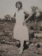 ANTIQUE VINTAGE AFRICAN AMERICAN BEAUTY ARTISTIC WHITE DRESS 30s FASHION PHOTO