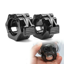 "Gym Standard 1"" Weight Barbell Bar Clamps Clips 2Pcs Olympic Spinlock Collars US"