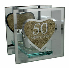 JULIANA 50TH GOLDEN WEDDING ANNIVERSARY T-LITE TEA LIGHT HOLDER ANNIVERSARY GIFT