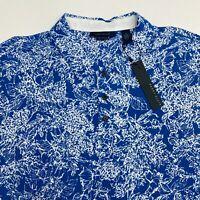 New Perry Ellis Henley Shirt Men's Size XL Short Sleeve Blue V Neck Pima Cotton
