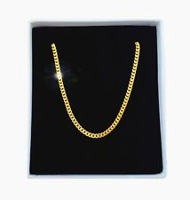 Source 18 inch 18ct Gold Cuban Curb Chain Necklace 2mm width