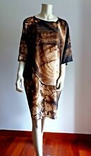 ❄New AW Arrivals#  MAX MARA 100% SILK Falcone Graphic-print Dress size L/XL