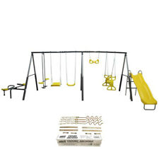 XDP Recreation Rising Sun Kids Metal Outdoor Playground Swing Set + Anchor Kit