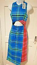WOMEN'S DESIGNER DRESS HOUSE OF HOLLAND PATCHWORK TARTAN KILT DRESS UK 10