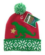 Ugly Stuff Mens Red and Green Christmas Dinosaur Beanie Winter Hat One Size