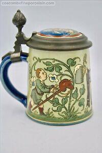 RARE Art Nouveau Mettlach Villeroy Boch Bier Stein Munich Child 1/4 Litre