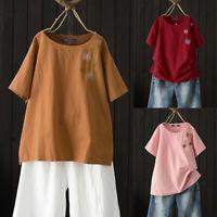 ZANZEA Women Short Sleeve Blouse T Shirt Tee Vintage Retro Bohemian Floral Top