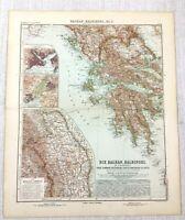 1907 Ancien Carte De The Balkans Grèce Chypre Athens Roumanie Constantinople