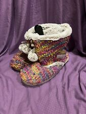 Womens Multicolored Bootie Slippers Size XL (11-12)