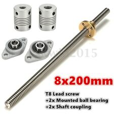 T8 2mm Lead Screw Rod 200mm CNC Linear Shaft Rail Coupling Mounting Support 20cm