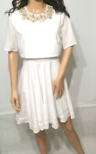 ASOS Embellished Cluster Crop Top Mini Dress in White UK12 EU40 777c4f6b9
