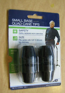 """DRIVE MED Small Base BLACK 1/2"""" Tips for a Quad Cane #RTL-10320BKB"""