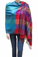 Flyingeagle Trade Women Rainbow Colorful Silky Pashmina Shawl Scarf Wrap Aqua