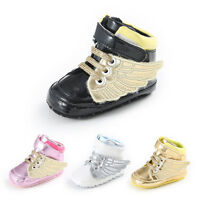 Infant Toddler Baby Boy Girl golden Wing Crib Shoes Sneakers Size 0-18 Months