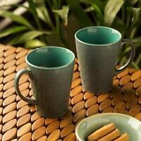 Ceramic Glazed Coffee Mugs Cum Serving Tea Cups Set, 320ml, Set of 2, Teal Blue