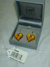 $260 Authentic LALIQUE France Amber Heart Coeur Crystal Silver Hook Earrings NIB