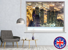 Hong Kong Night Skyline Printed Pic Window Roller Blind Cordless Remote Blackout