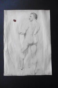 FLEMISH SCHOOL 19thC - STUDY ROBUST MALE NUDE SIGN. HUYSMANS - PENCIL DRAWING