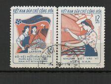 Vietnam du Nord 1974 mouvement des femmes 2 timbres oblitérés se tenant /TR8427