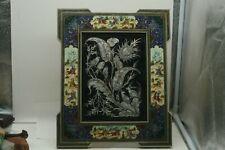 Etched Metal Persian Copper Art Inlaid Khatam Enamel Frame Birds Floral