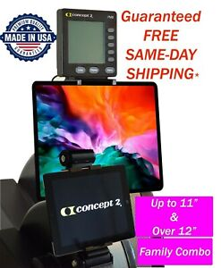 """Concept2 PM5 Model C&D Tablet iPad Holder up to 11"""" & over 12"""" screen 2-in-1"""