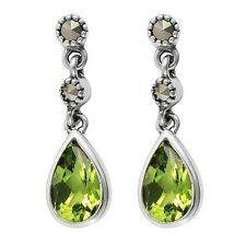 Esse Marcasite Sterling Silver Peridot and Marcasite Tear Drop Earrings NEW